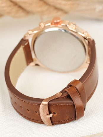 Men's Brown Leather Strap Rose Sport Metal Case Watch