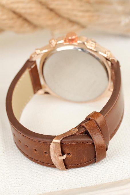 Men's Brown Leather Strap Rose Sport Metal Case Watch 4