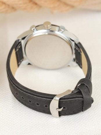 Men's Black Leather Strap Sport Metal Case Watch