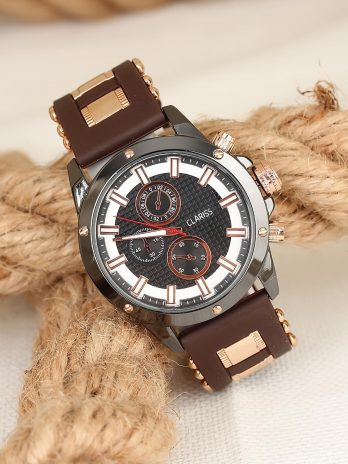 Men's Sport Watches Metal Case Brown Silicone Strap Smoky