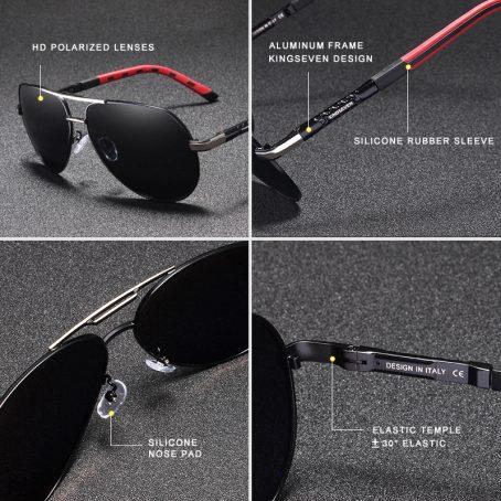 KINGSEVEN Gafas de sol polarizadas de aluminio para hombre 4