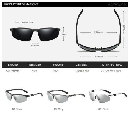 Gafas de sol fotocromáticas hombre gafas de camaleón polarizadas para hombre cambio de Color HD de visión nocturna para conducir gafas 6